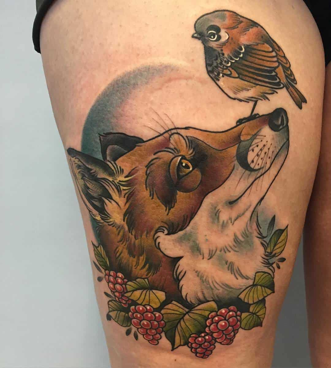 sparrow leg tattoo