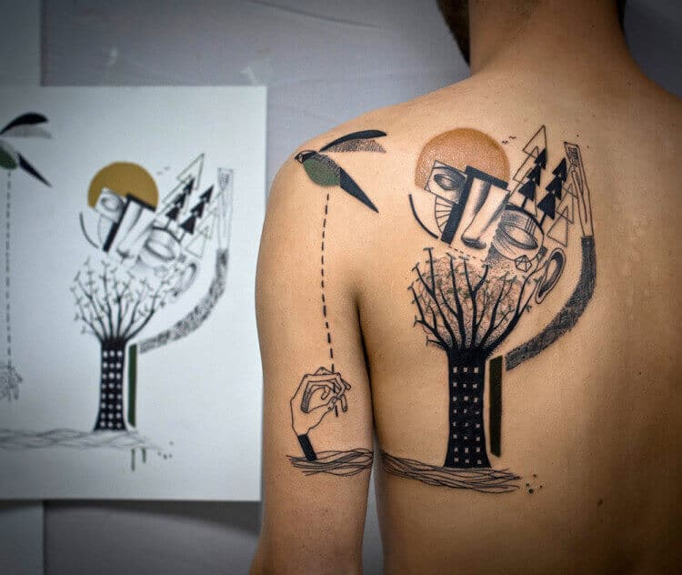 surrealism back tattoo