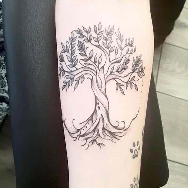 tree semicolon tattoo