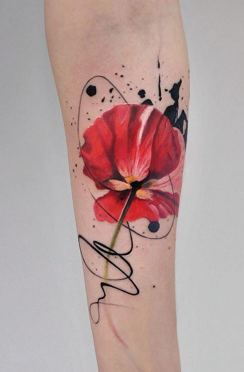 watercolor hibiscus tattoo on arm