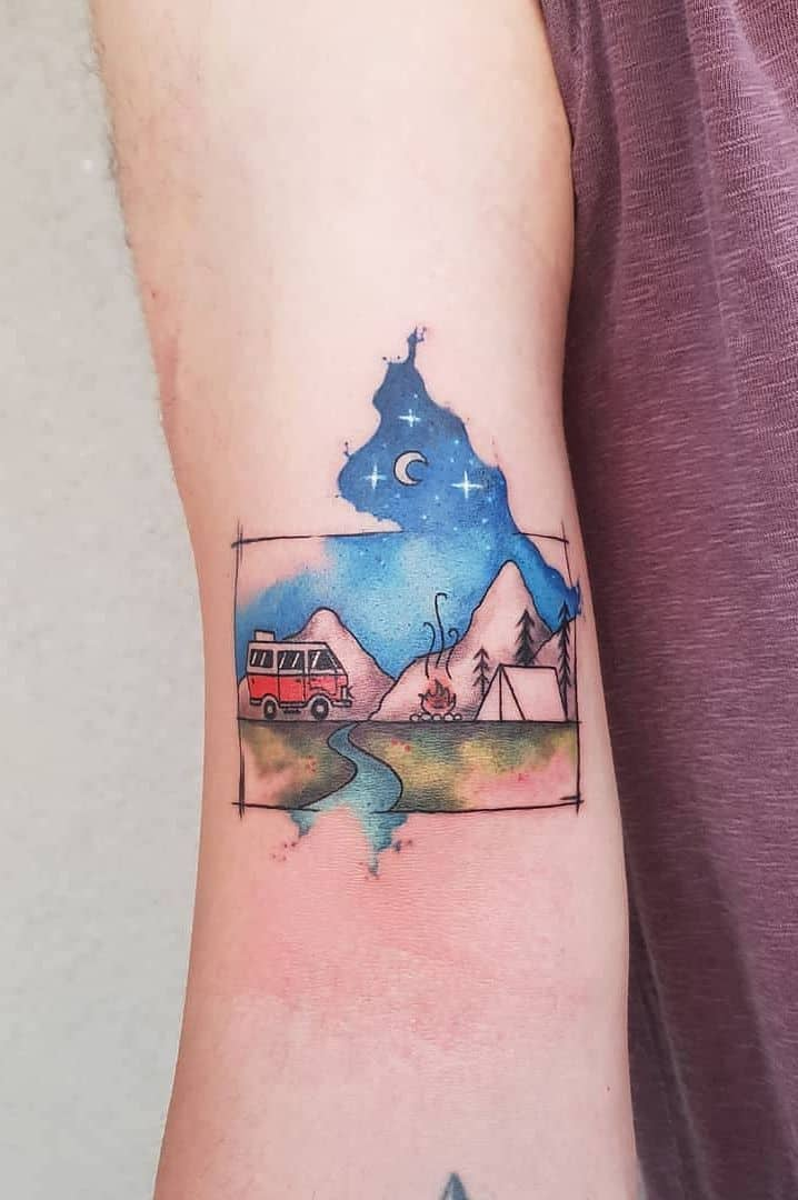 watercolor mountain tattoo