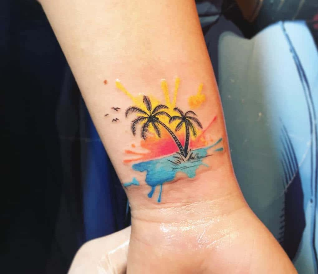 watercolor palm tree on wrist