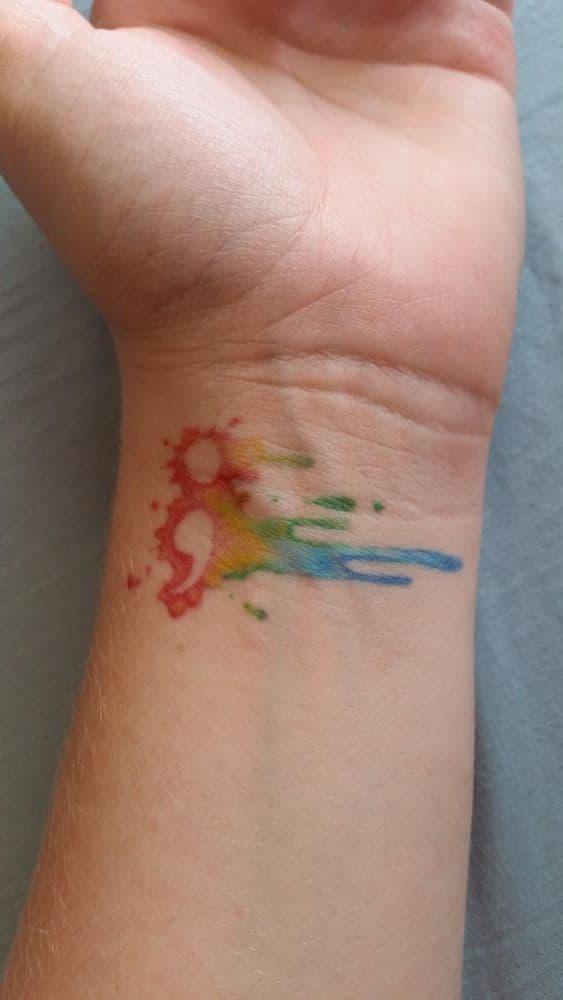 watercolor semicolon on wrist