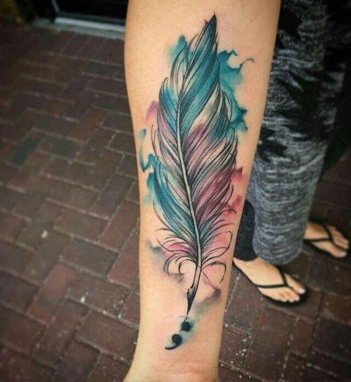 watercolor semicolon tattoo
