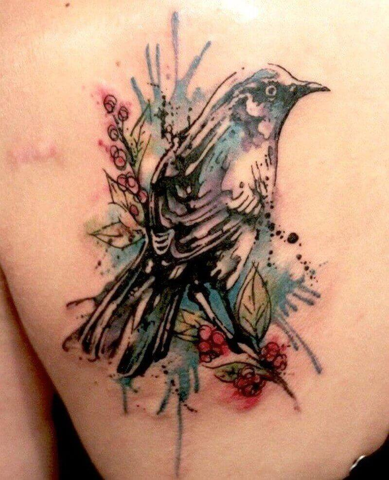 watercolor sparrow tattoo on back