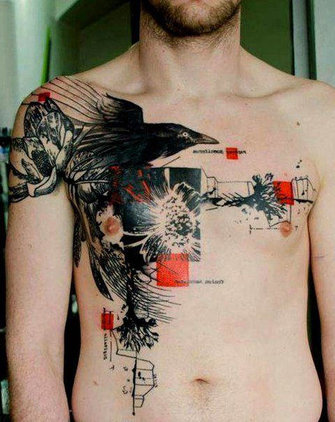 abstract crow raven tattoo on chest