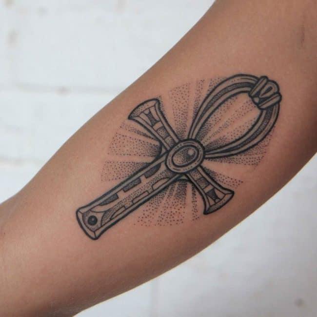 ankh arm tattoo