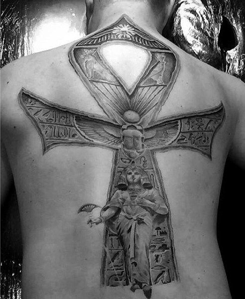ankh back tattoo