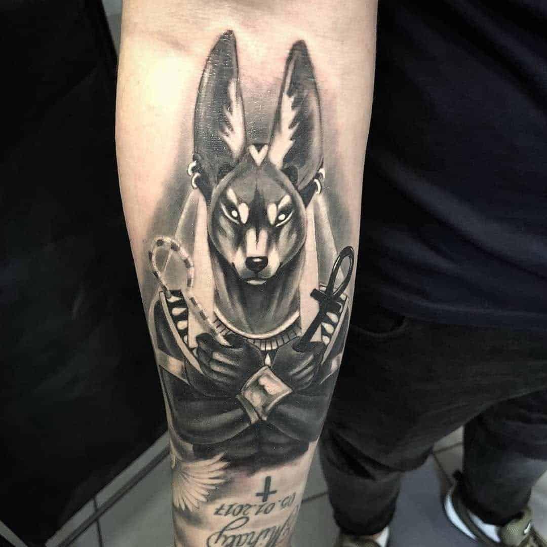 anubis tattoo on arm