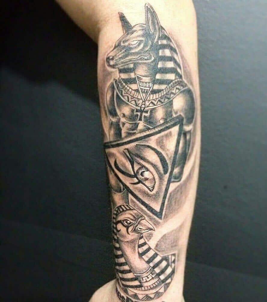 anubis leg tattoo