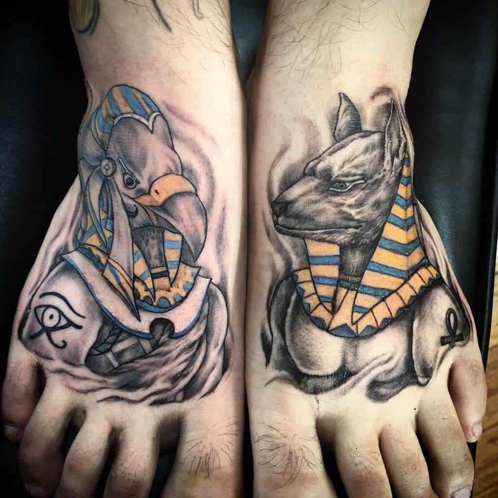 anubis tattoo on foot