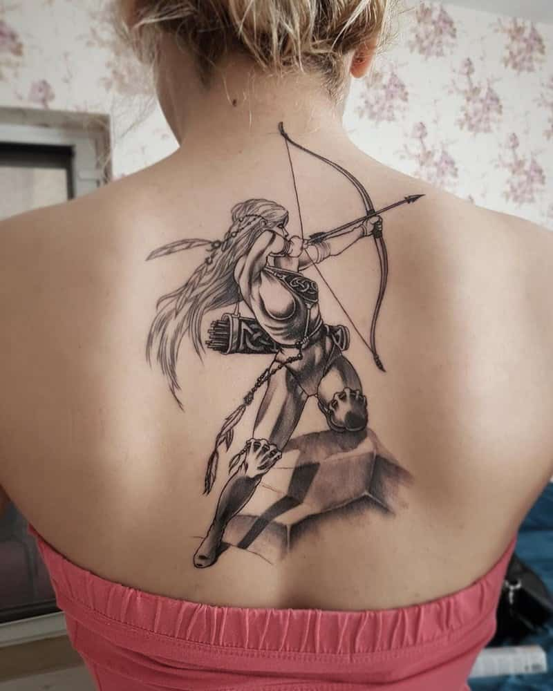 archer sagittarius tattoo on back