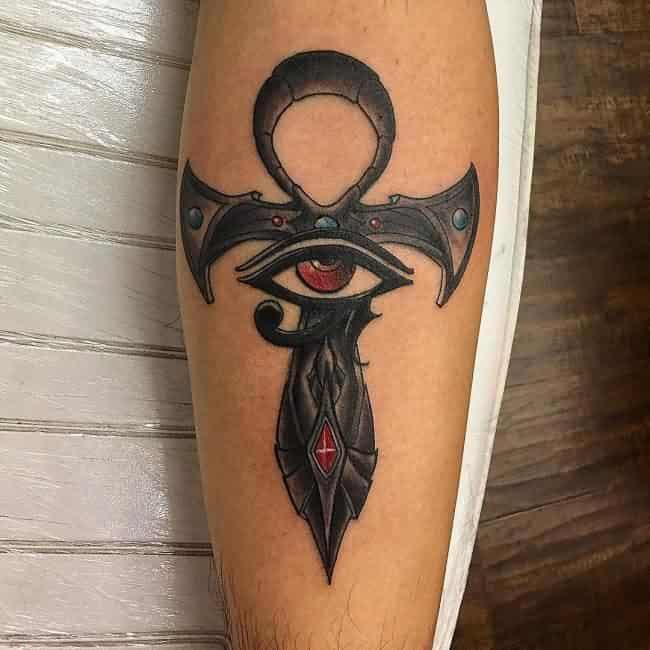 colored ankh tattoo
