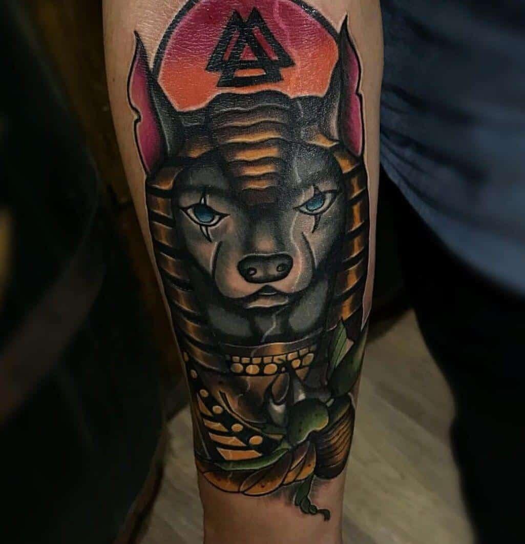 colored anubis tattoo