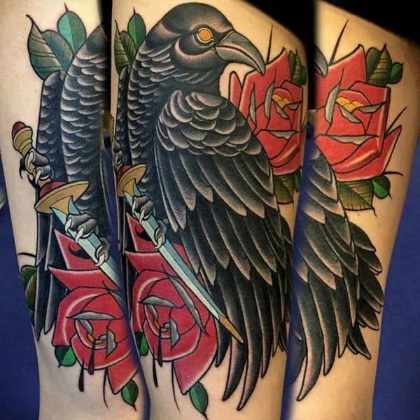 colored crow raven tattoo