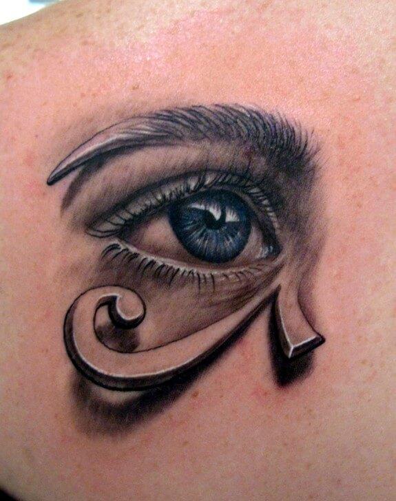 colored eye of horus tattoo