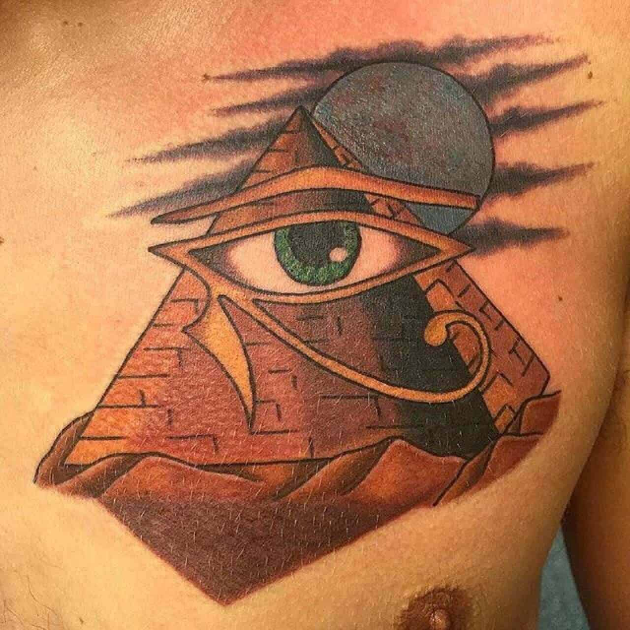 colored eye of horus tattoo on chest