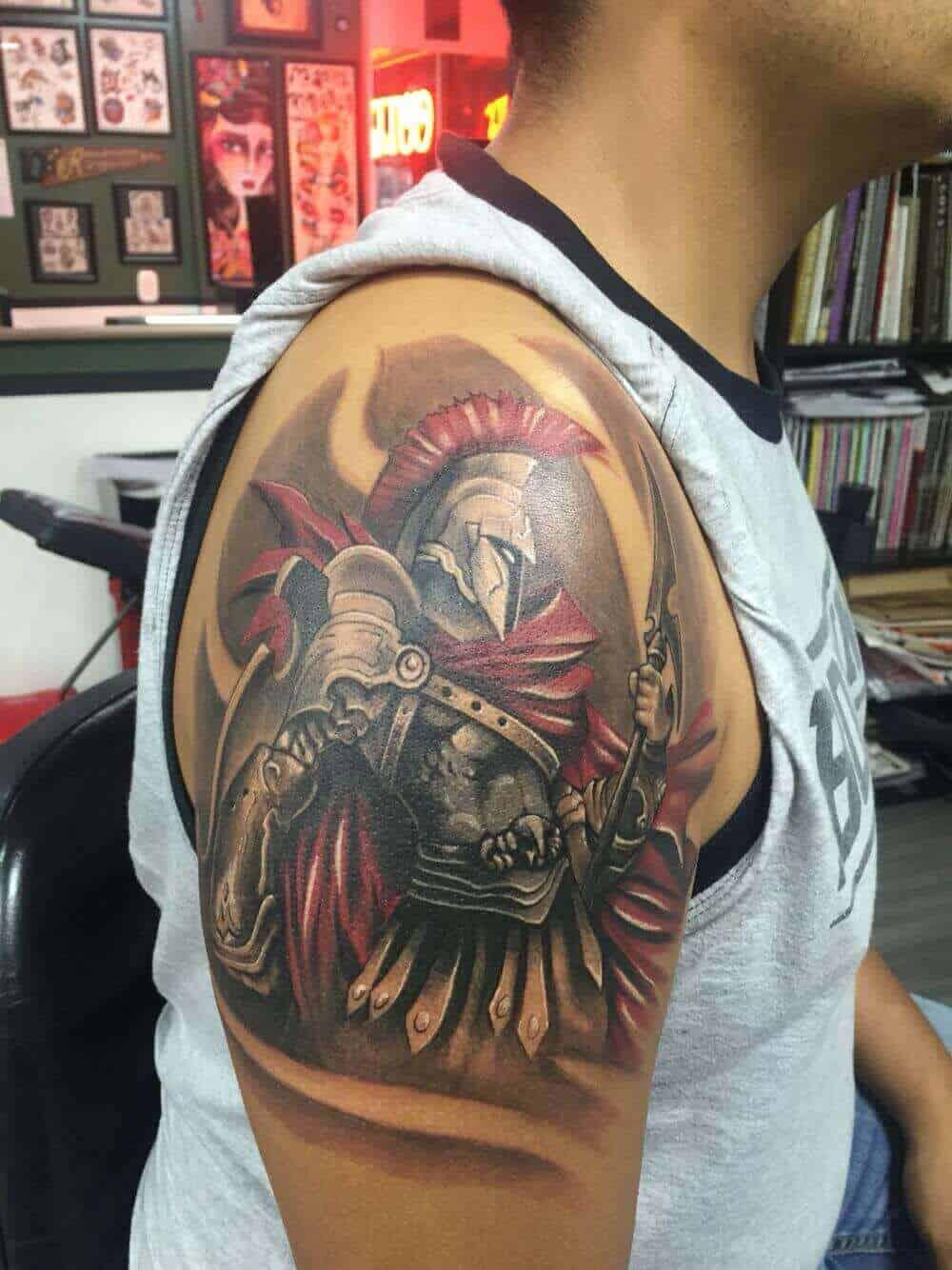 colored god of war tattoo