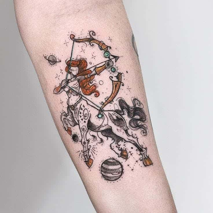 colored sagittarius tattoo