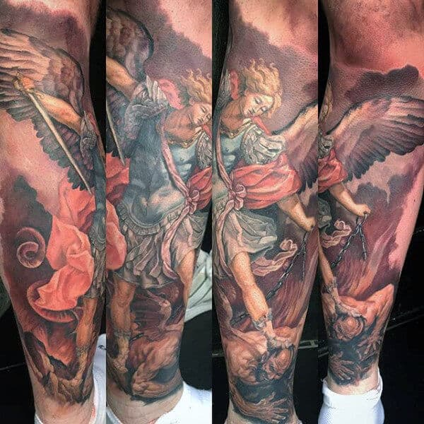 colored saint michael tattoo