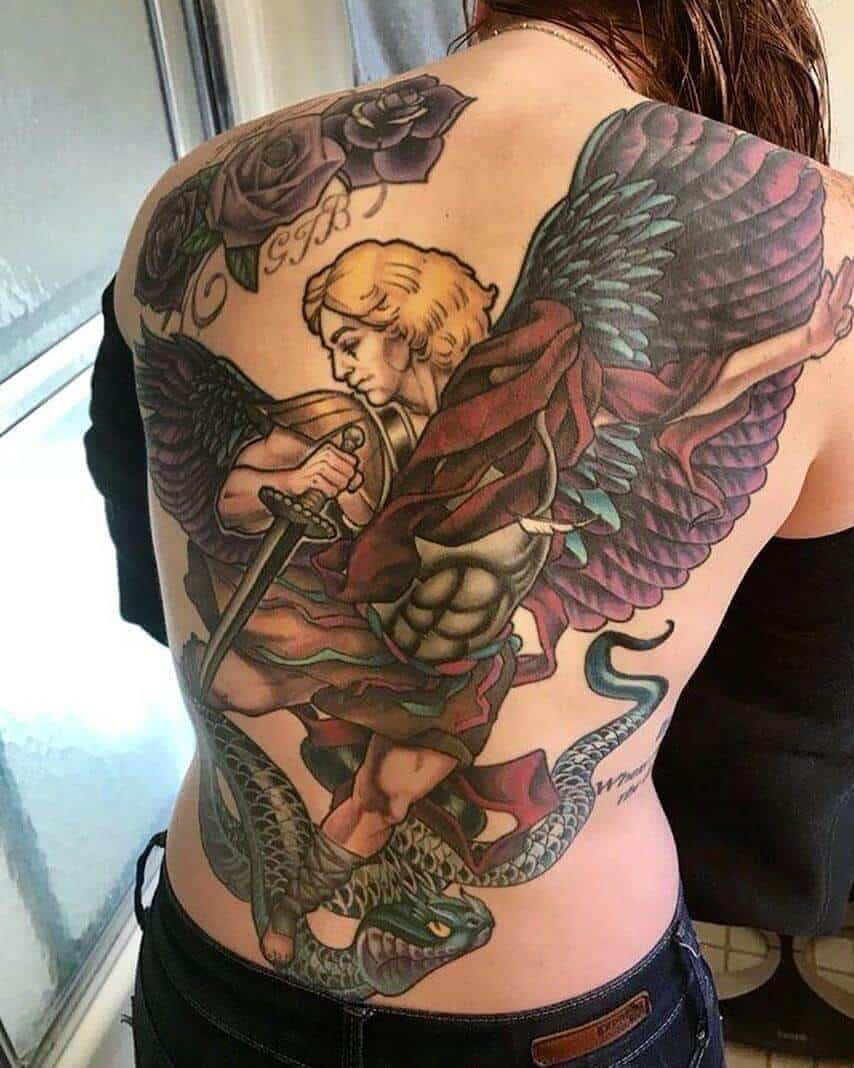 colored saint michael tattoo on back
