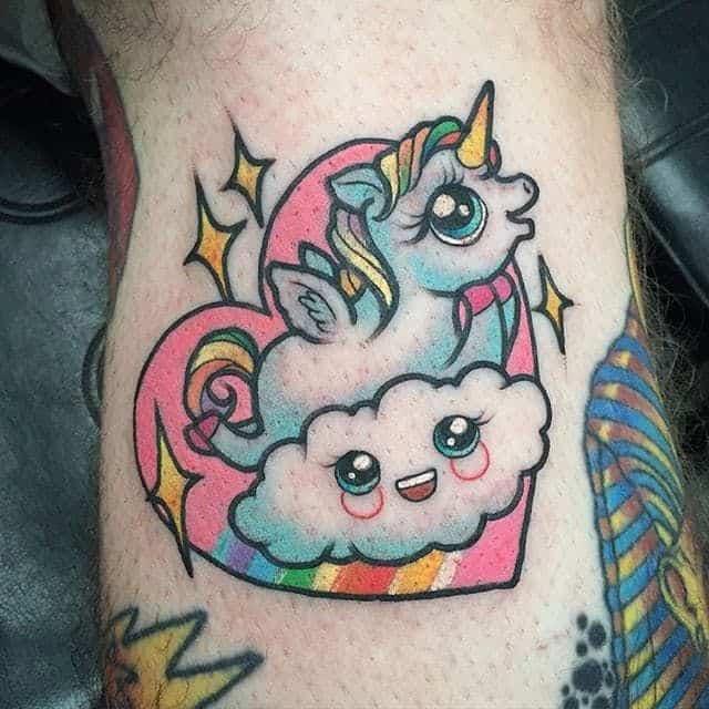 colorful unicorn tattoo