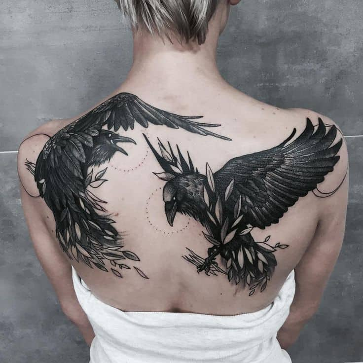 crow raven tattoo on back