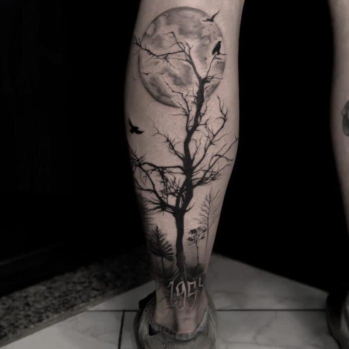 crow raven tattoo on leg