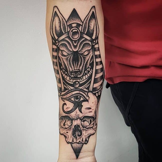 dotwork anubis tattoo