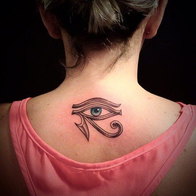 eye of horus back tattoo