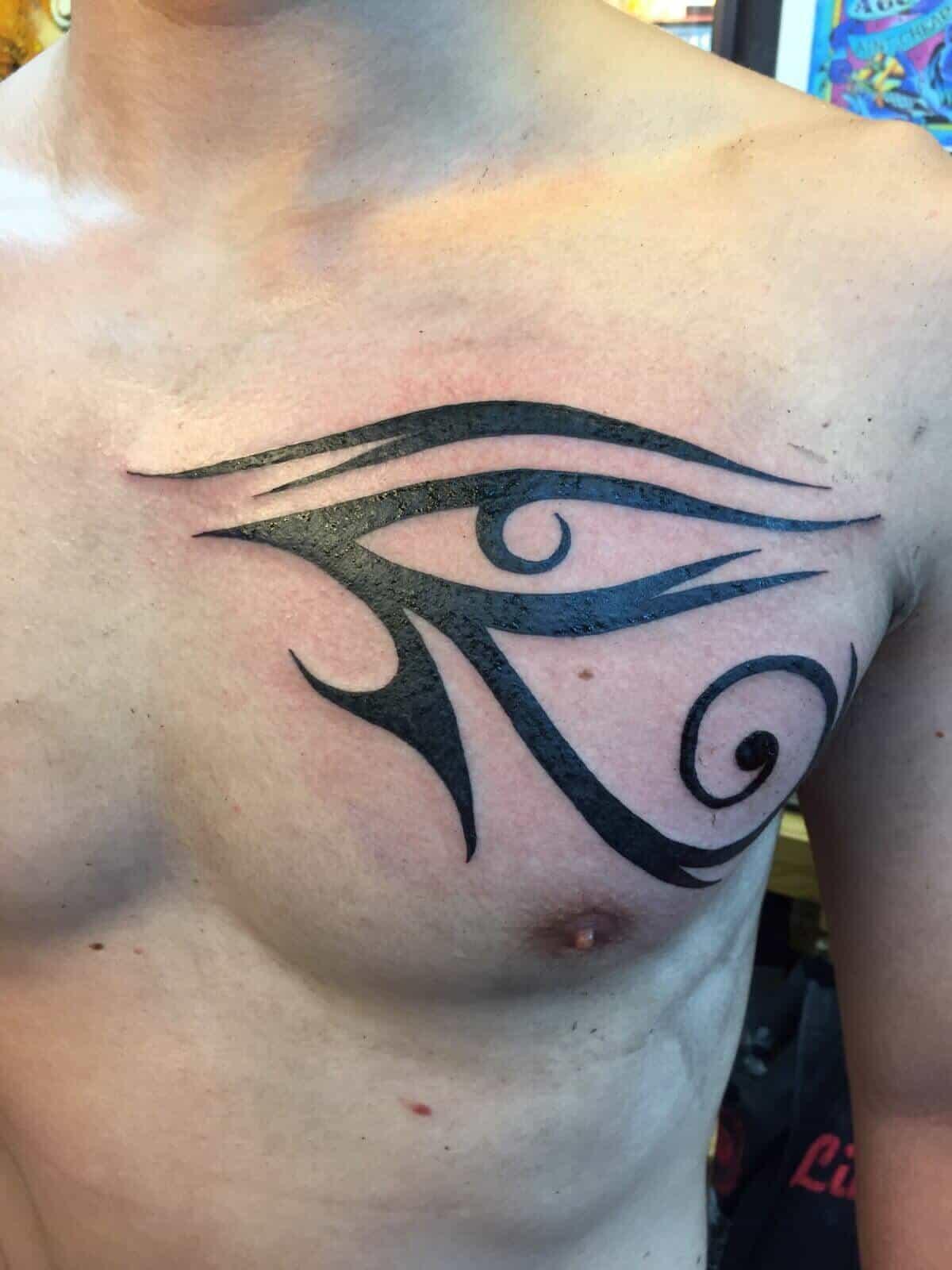 eye of horus chest tattoo