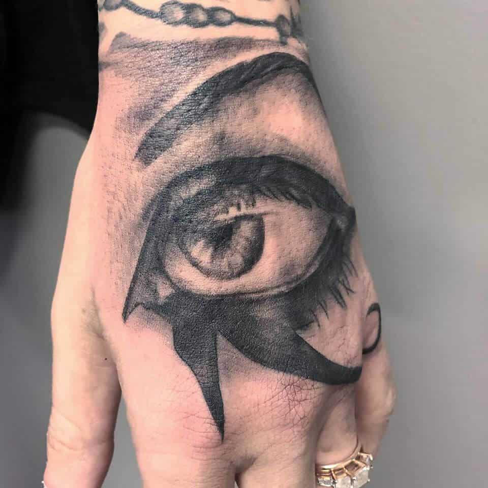 eye of horus hand tattoo