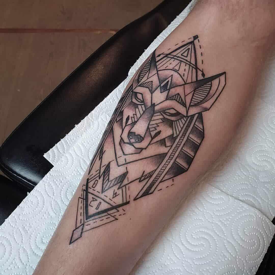 geometric anubis tattoo