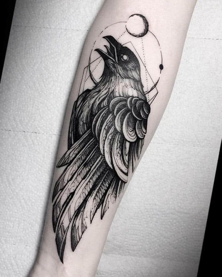 geometric crow raven tattoo on arm