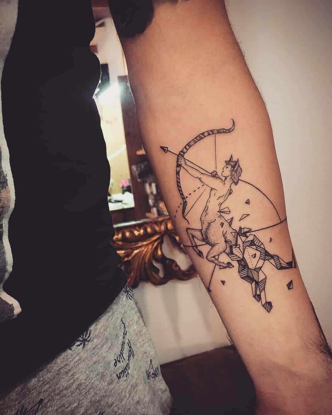 geometric sagittarius tattoo on arm