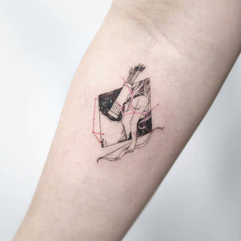girly sagittarius tattoo on arm