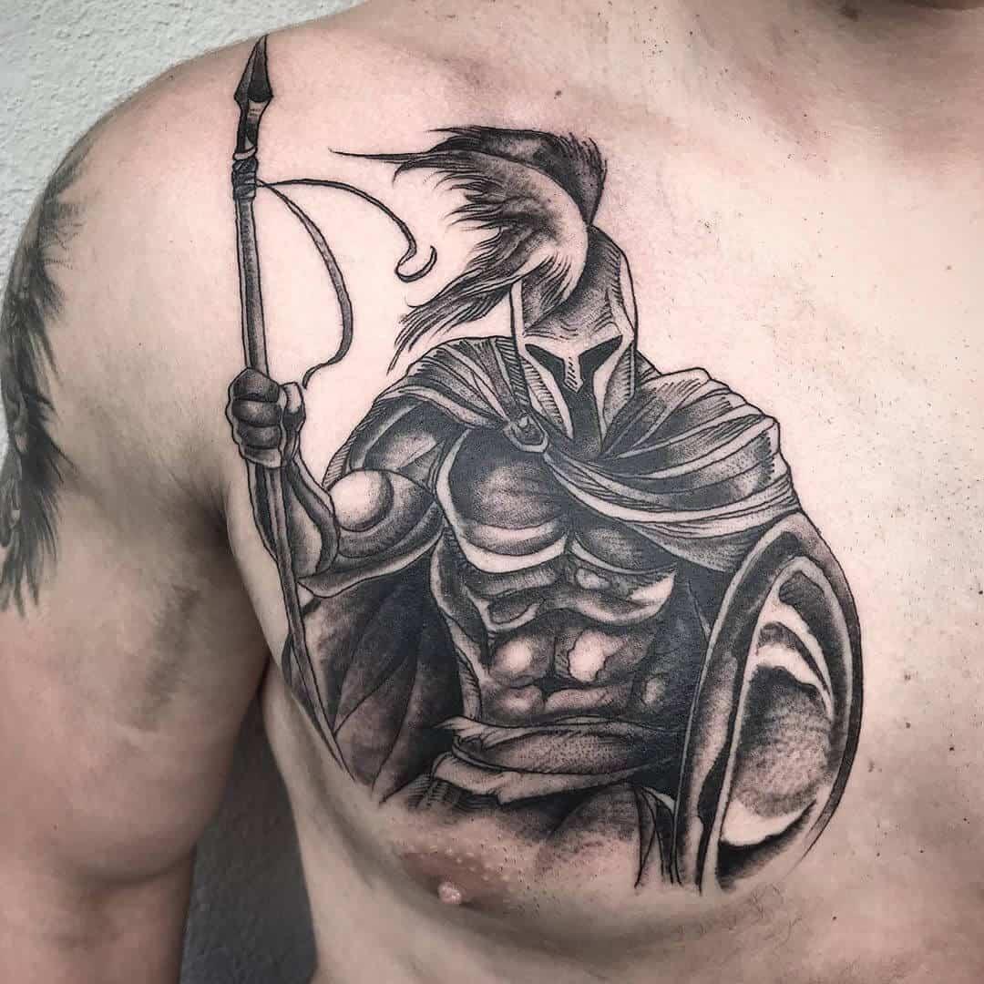 god of war tattoo on chest