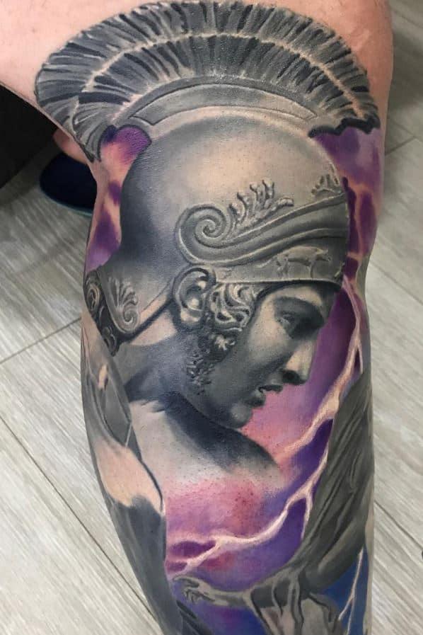 god of war tattoo on leg