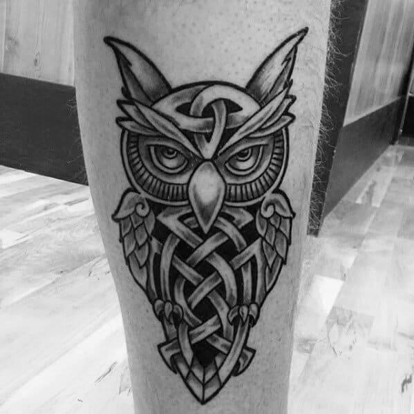 owl celtic tattoo on leg