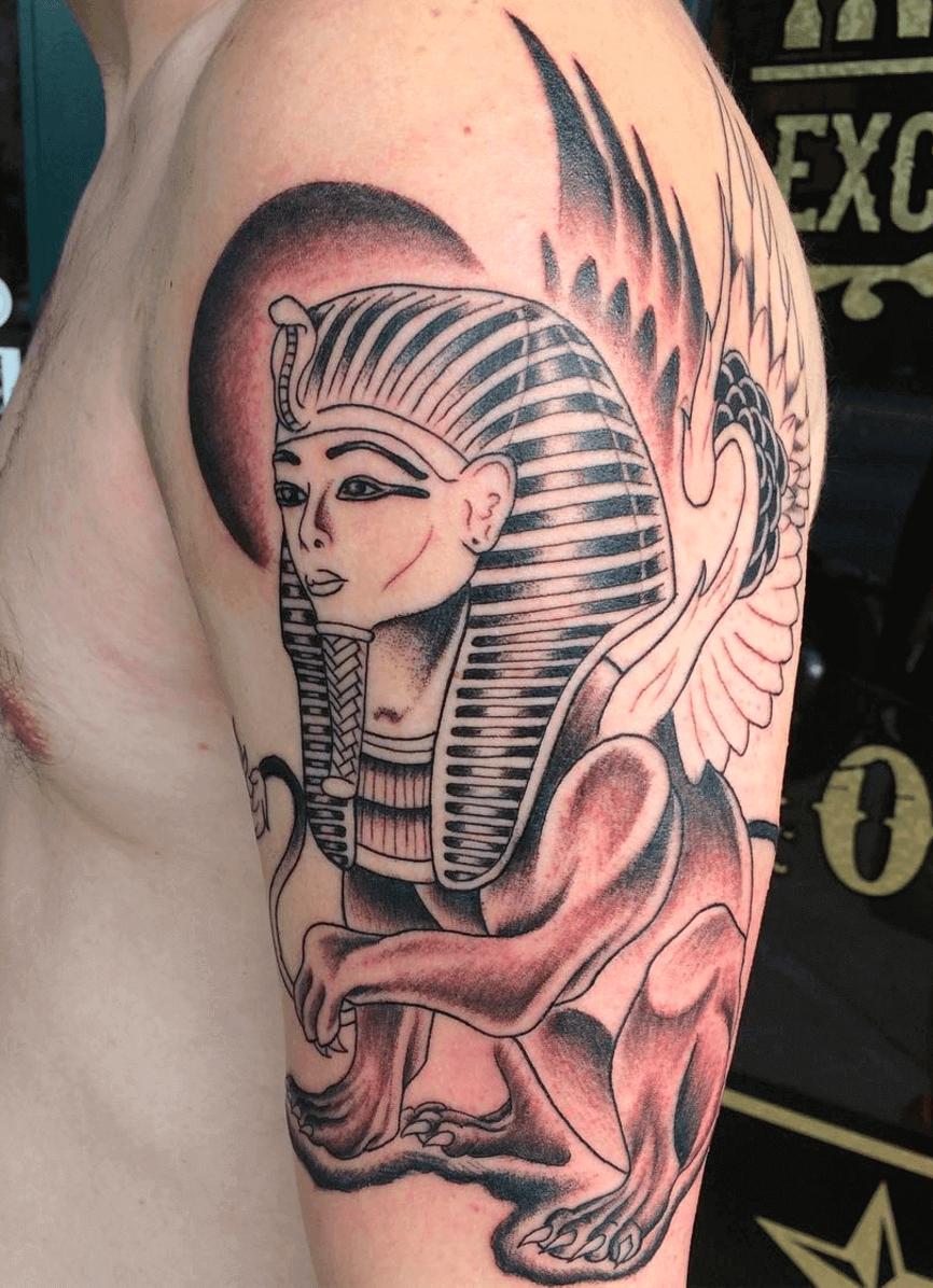 pharaoh egyptian arm tattoo