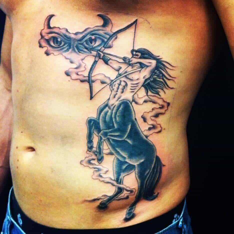 sagittarius tattoo on rib