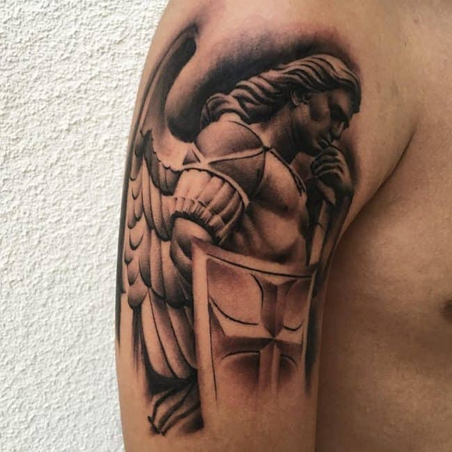 saint michael tattoo on arm