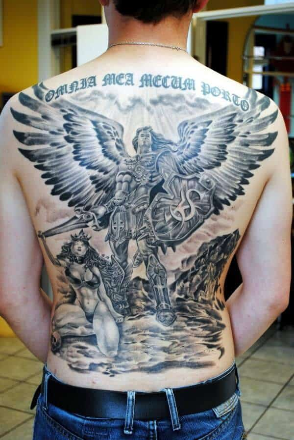 saint michael back tattoo