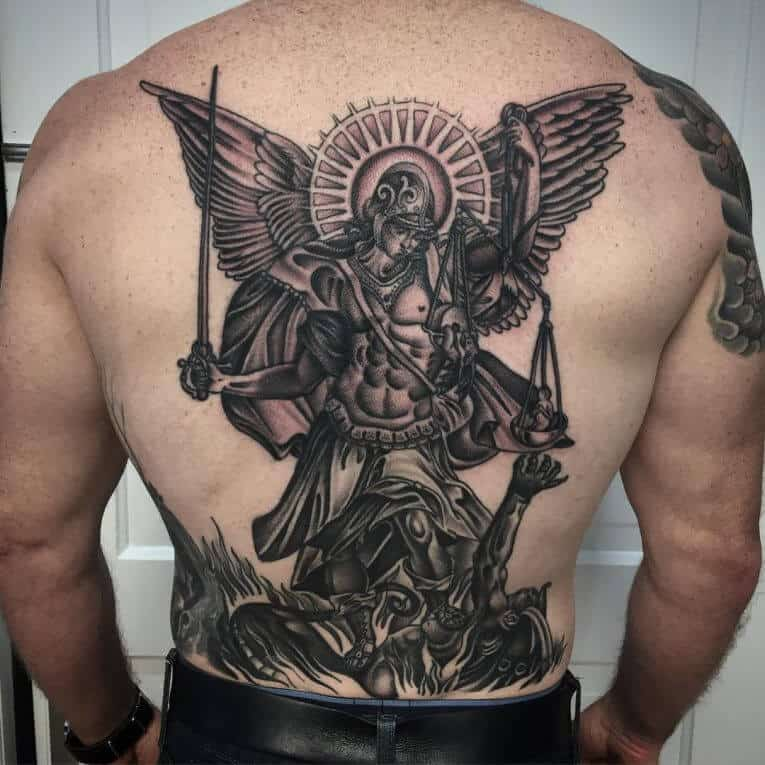 saint michael tattoo on back