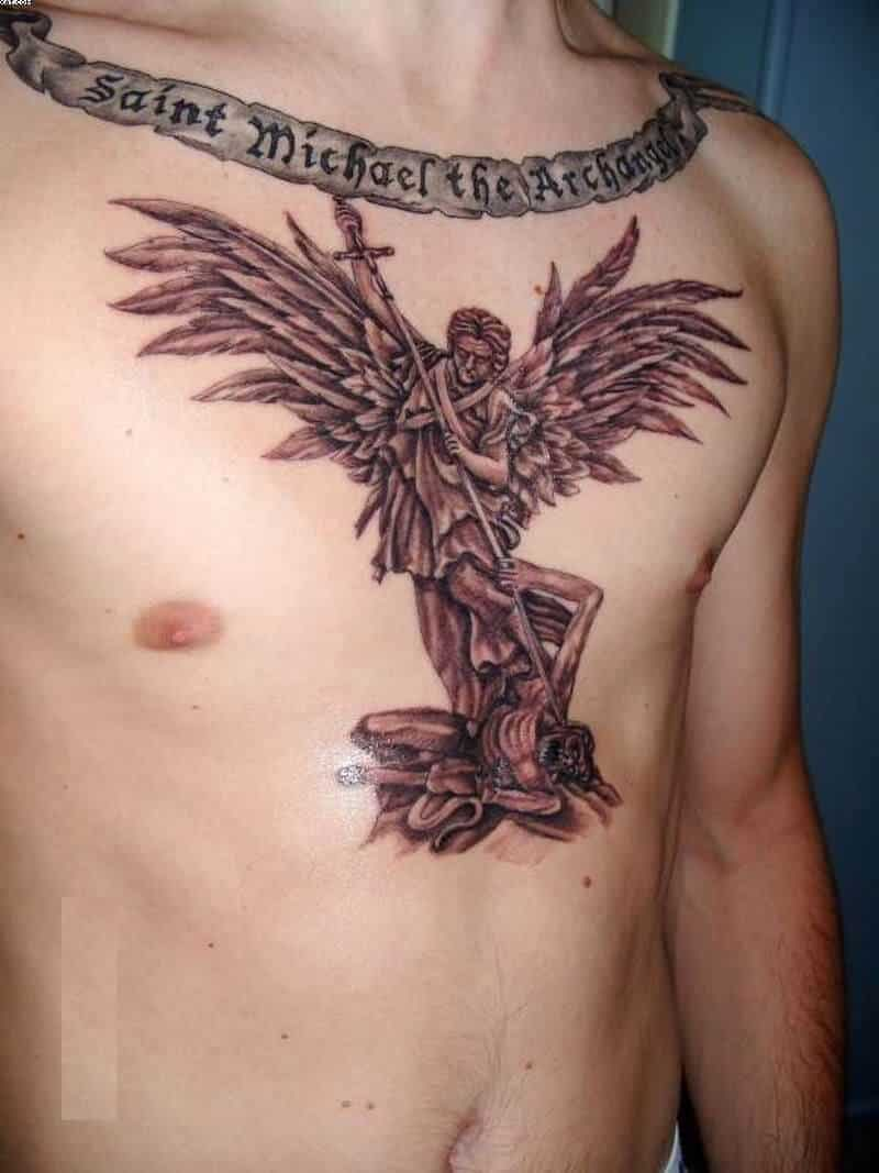saint michael tattoo on chest