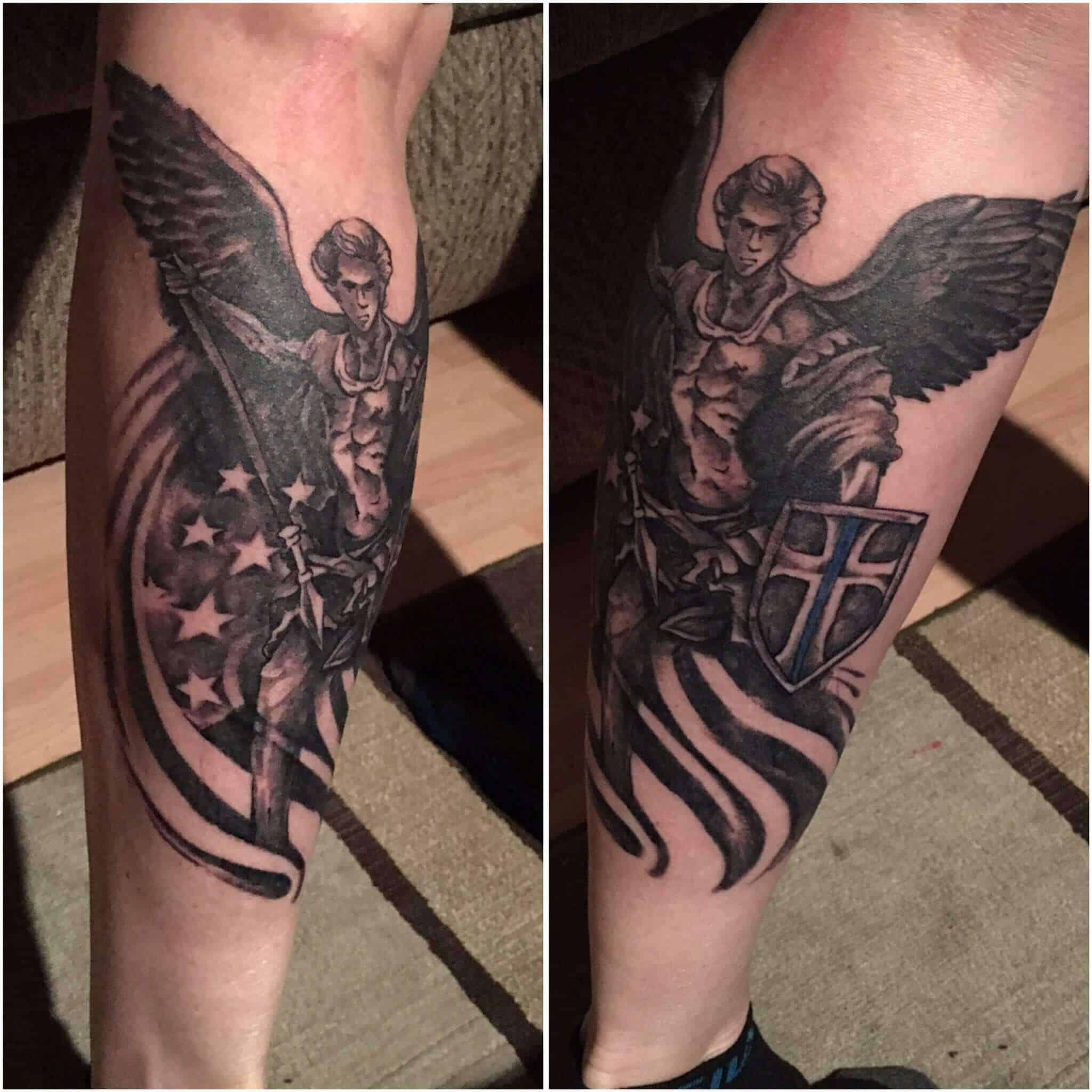 saint michael leg tattoo