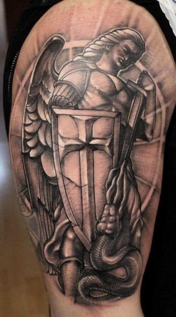 saint michael shield tattoo