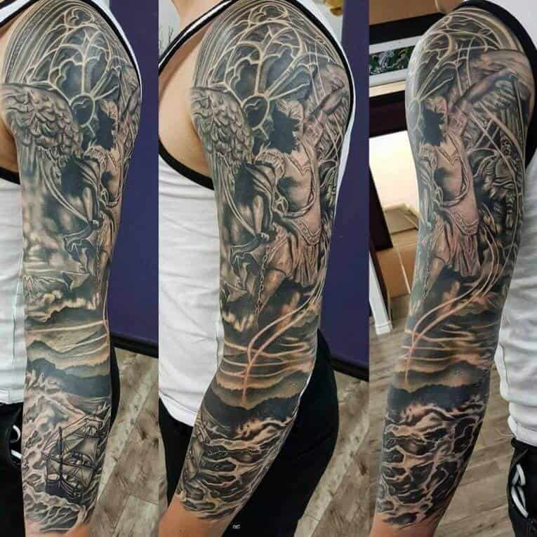 saint michael sleeve tattoo
