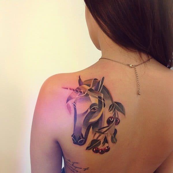 unicorn back tattoo