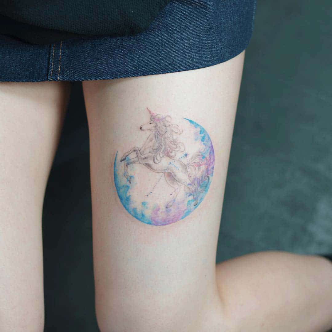 unicorn thigh tattoo